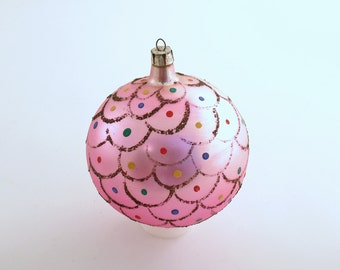 Vintage Christmas Ornament Large Pink Glass Ornament