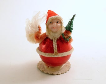 Vintage Christmas Ornament Santa Bottle Brush Tree