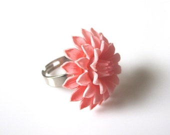 ON SALE Dahlia Ring, Flower Ring, Vintage Ring,Pink Ring,Vintage Pink Dahlia Ring