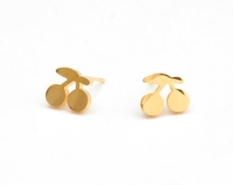 Cherry Golden Stainless Steel Earring Post Finding (EX018B)