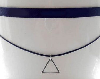 Choker Necklace Double Black Triangle Faux Suede Leather Choker