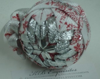 Red White and Silver Snowflake Quilted Christmas Ornament READY TO SHIP  Sale