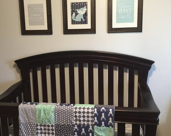 Gentle Deer Mint Navy and Gray Chevron and Dots 3 Piece Blanket and Baby Crib Set Bedding MADE TO ORDER
