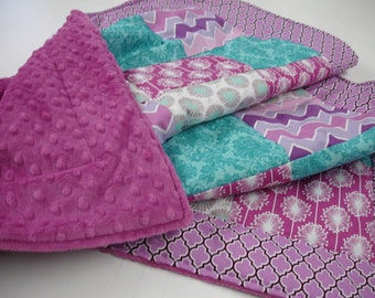 Modern Floral Teal Lavender Gray with Damask 3 Piece Baby Crib Bedding Set MADE TO ORDER