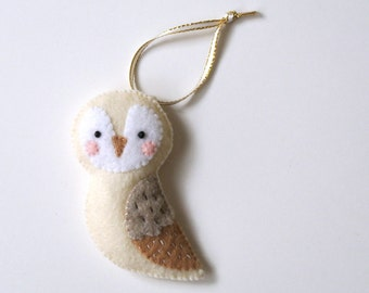 Felt owl ornament Snow Owl Felt Ornaments Owl Wall Hanging Owl Home decor Cottage Chic Pastel Home Wall Decor Handmade Ornament Gift for Her