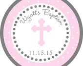 Pink Girl Baptism Cross Thank You PERSONALIZED Stickers, Tags, Labels, or Cupcake Toppers, various sizes, printed & shipped