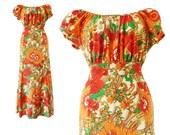 Vintage Maxi Dress 70s Peasant Boho Hippie Colorful Bright Red Orange Floral Flower Print 1970s