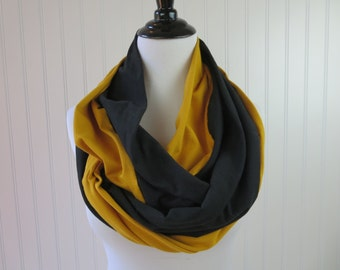 Gold and Black Infinity Scarf - Pittsburgh Steelers Scarf - Steelers Scarf - New Orleans Saints Scarf - Saints Scarf - Mizzou Scarf
