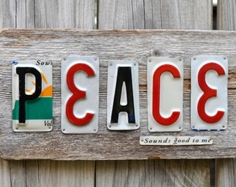 Peace Sign - License Plate Art - Hippie Art - Rustic Sign - Primitive Sign