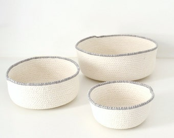 Scandinavian basket, Basket cotton, Rope bowl, Natural home decor, Mediterranean decor, Natural cotton rope, Set of bowls, White and grey