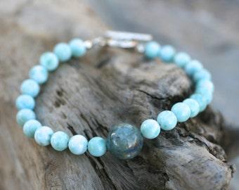 Larimar and Kyanite Gemstone Beaded Sterling Silver Bracelet, Boho Stacking Bracelet, Gemstone Beaded Bracelet, Blue Gemstone Jewelry