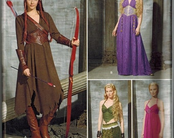 Game of Thrones Inspired Dress Sewing Pattern Simplicity 1010 UNCUT Sizes 14-16-18-20-22 Gown Daenerys Blue Tan Brown Elven Archer/Tauriel