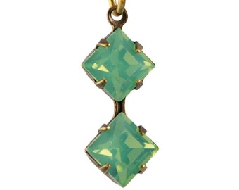 Green Opal Faceted Square Glass Stones Double 1 Loop Brass Ox Setting 6mm (4) squ014PP3