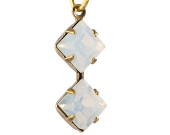 White Opal Faceted Square Glass Stones Double 1 Loop Brass Ox Setting 6mm (4) squ014RR3