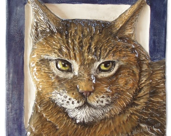 Cat Tile CERAMIC Portrait Sculpture 3d Art Tile Plaque FUNCTIONAL ART by Sondra Alexander In Stock