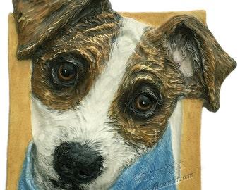 Jack Russell Dog CERAMIC Portrait Sculpture 3d Dog Art Tile Plaque FUNCTIONAL ART by Sondra Alexander Christmas gifts in stock