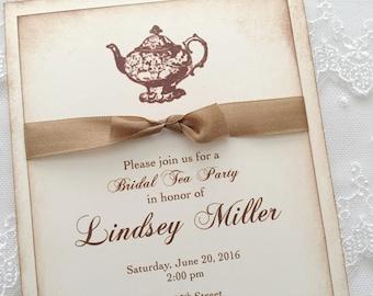 Bridal Tea Invitations Bridal Shower Invitations Engagement Teapot Set of 10