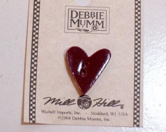 Heart Button, Red Ceramic Heart Button x 1 piece, Debbie Mumm Flower Garden Heart by Mill Hill
