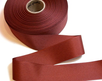 Brown Ribbon, Rust Brown Grosgrain Ribbon 1 1/2 inches wide x 10 yards, SECOND QUALITY FLAWED