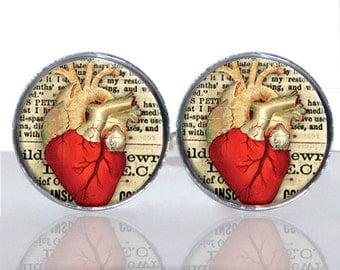Anatomical Heart Round Glass Tile Cuff Links - CIR166