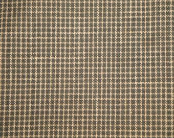 FLAWED FABRIC | Cotton Homespun Fabric | Dark Green Windowpane Plaid Fabric |  1 Yard