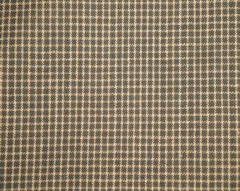 FLAWED FABRIC | Cotton Homespun Fabric | Dark Green Windowpane Plaid Fabric |  1 Yard