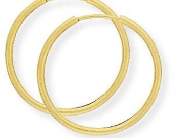 14mm 14K Gold Hoop Earrings