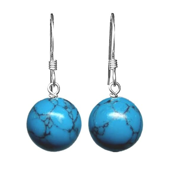 Minimal Grade A Turquoise and Sterling Silver Drop Earrings