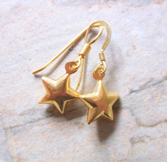 Gold Vermeil star Drop Earrings. Free gift box