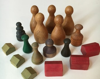 Vintage Wooden Game Pieces - LOT of 17