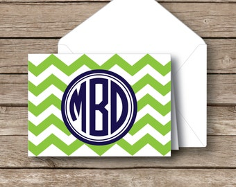 Monogrammed stationery,  Folded circle monogrammed  chevron note cards, preppy stationery, set of 10