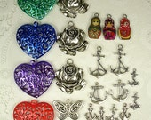 Miscellaneous Lot of Charms & Pendants Jewelry Making Destash Hearts Butterfly Roses Flowers Peace Anchors Matryoshka