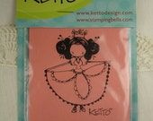 NEW Stamping Bella Flamenca Ketto Girl with Dress Cling Mount Rubber Stamp Unmounted