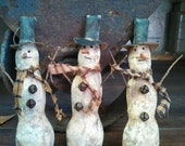 Primitive Winter Christmas Snowman Ornaments.  WOW