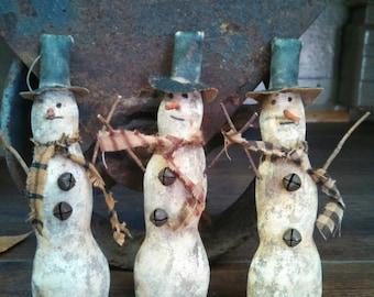 Primitive Winter Christmas Snowman Ornaments.  WOW