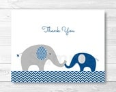 Elephant Thank You Card / Elephant Baby Shower / Navy Blue & Grey / Baby Boy Shower / PRINTABLE Instant Download