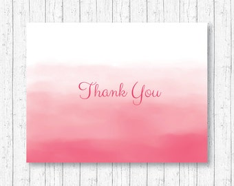 Pink Ombre Thank You Card / Watercolor Baby Shower / Watercolor Ombre / Baby Girl / Folded Card Template / PRINTABLE Instant Download A108