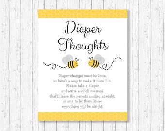 Bumble Bee Diaper Thoughts Game / Late Night Diaper Game / Bumble Bee Baby Shower / Yellow & Grey / Baby Shower Game / INSTANT DOWNLOAD