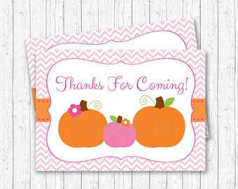 Pink Pumpkin Party Favor Tags / Thank You Tags / Pumpkin Baby Shower / Fall Baby Shower / Baby Girl Shower / INSTANT DOWNLOAD A244