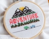 Adventure Counted Cross Stitch Pattern, Pink and Green Camping Cross Stitch, pdf, instant download