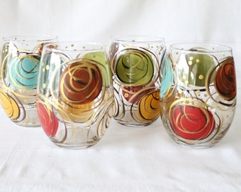 Stemless Wine Glasses Hand Painted Swirl Design Muted Brights