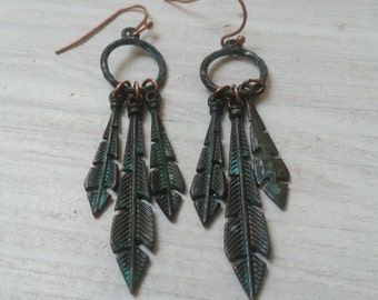 Feather Patinaed Green and Copper Earrings