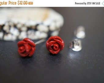 AUTUMN SALE Barbie Doll Simple and Elegant Small Fire Red Coral Flower Earring Sterling Silver Studs - 7mm - 1 pair