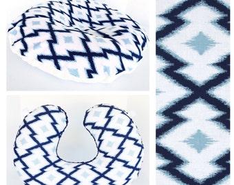 BOPPY PILLOW COVER  / Zipper closure /Blue cotton  print with soft Flat minky / Nursing pillow & Newborn Lounger / Great baby shower gift /