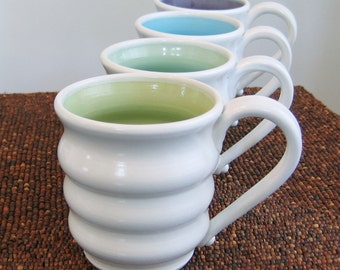 Pottery Mugs in Mermaid - Set of Four Large Beehive Stoneware Coffee Mugs 16 oz.
