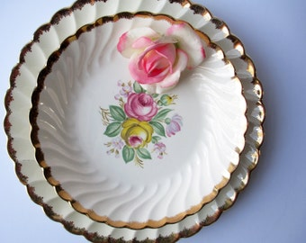 Vintage Serving Bowl and Serving Platter Royal Quban Pink Yellow Rose Set of Two