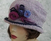 Crochet Hat Pattern Womens Brimmed Mercy Street Style Hat Brimmed With Flower Trim  Instant Download