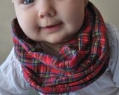 Plaid Baby Infinity Scarf, Red Plaid, Baby Scarf Bib, Single Loop, Infant/Toddler Size or Child's Size