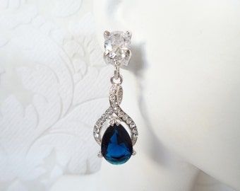 Sapphire Blue Wedding Earrings with Swarovski Crystal 1920s Bridal Chandeliers Prom Jewelry for September Birthday Gift Clipon or Pierced
