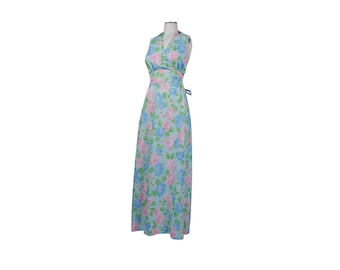 Vintage 70s Dress - 70s Halter Dress - 70s Maxi Dress - Halter Maxi Dress - Blue Pink Green - Pastel Dress - Floral Dress - Halter Dress - M